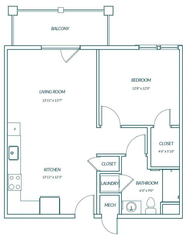 Sawgrass 1 Bedroom Senior Apartment Mount Pleasant SC Floor Plan